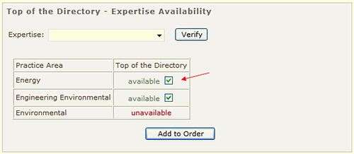 Order Top of the Directory Position
