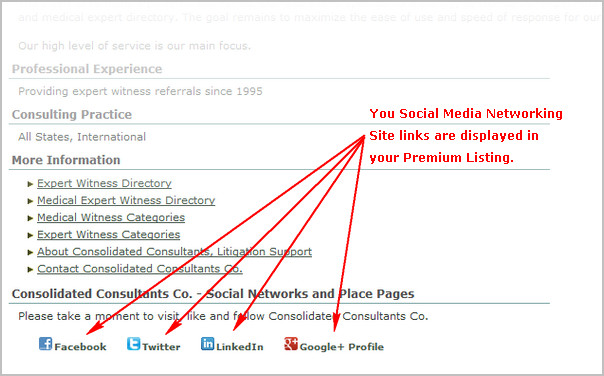 Adding Your Social Network Page Links to your Premium Listing